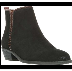 Franco Sarto black and brown ankle booties